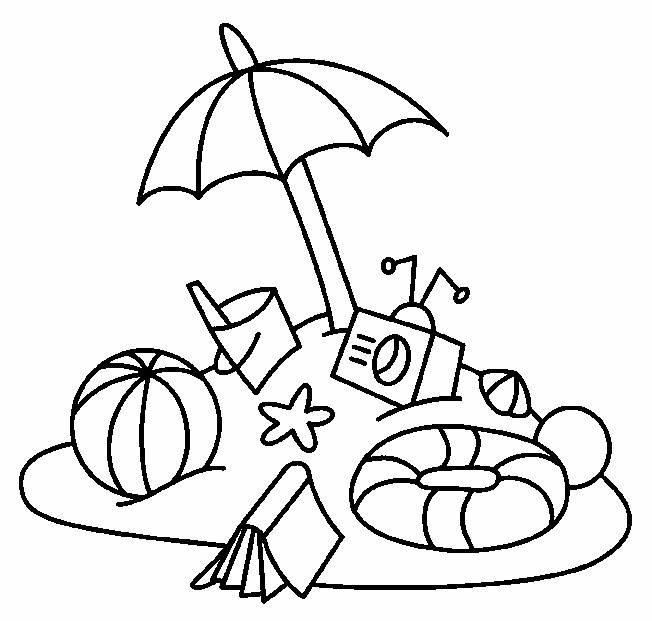 Free coloring and drawings Ball, umbrella and beach toys Coloring page