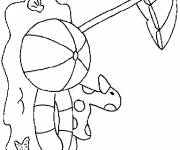 Coloring pages Balloon under the parasol in The beach