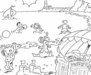 Coloring pages Beach and Sea