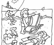 Free coloring and drawings Beach and Sea in the summer time Coloring page