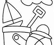 Coloring pages Beach ball under the sun