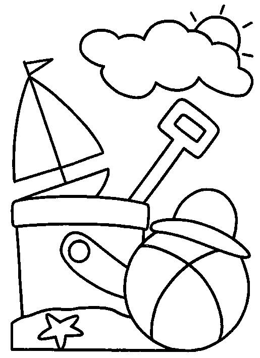 Free coloring and drawings Beach ball under the sun Coloring page