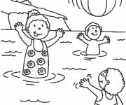 Free coloring and drawings Children having fun in the lake Coloring page