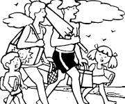 Coloring pages Family heads to the beach