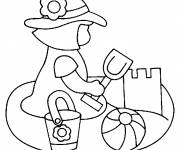 Coloring pages Girl and Sand Castle
