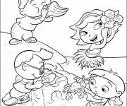 Coloring pages Little ones have fun on the beach