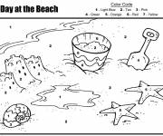 Coloring pages One day at the beach
