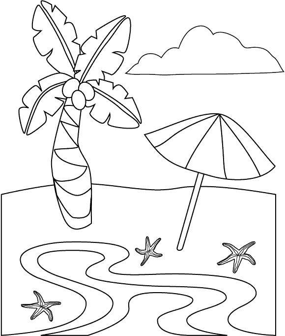 Free coloring and drawings The beach Coloring page