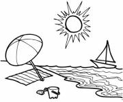 Free coloring and drawings The Beach and the Sun Coloring page