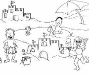 Free coloring and drawings The Beach and Vacationers Coloring page