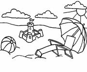 Coloring pages The Beach in black for children