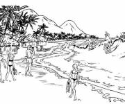 Coloring pages The Beach in pencil