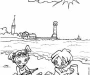 Coloring pages The Beach in sunny day