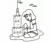 Coloring pages The Girl builds her castle