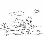 Coloring pages The Little Amused on The Beach
