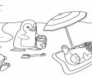 Coloring pages The Penguins and The Beach