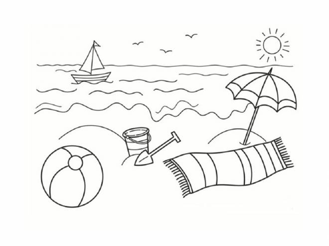 Free coloring and drawings The Stylized Beach Coloring page
