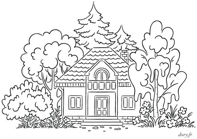 Free coloring and drawings A house in the forest Coloring page