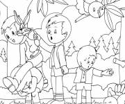 Free coloring and drawings Children in the Forest Coloring page