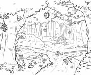 Free coloring and drawings Forest vector Coloring page