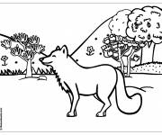 Free coloring and drawings Happy wolf in the forest Coloring page