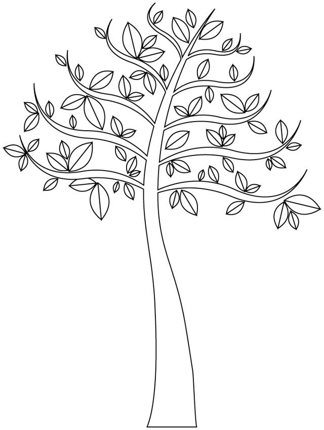 Free coloring and drawings A beautiful tree Coloring page