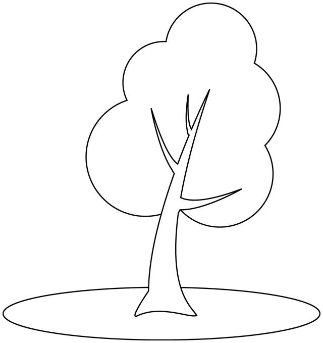 Free coloring and drawings Simple stylized trees Coloring page