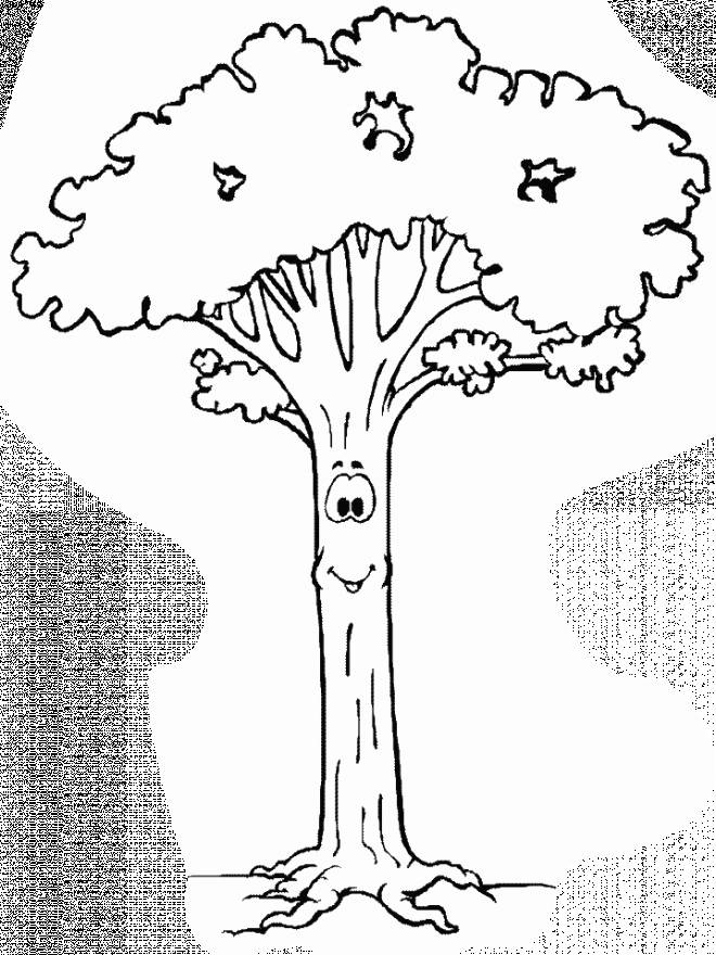 Free coloring and drawings Smiling tree Coloring page