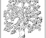 Coloring pages Stylized trees and beautiful flowers