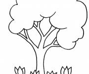 Free coloring and drawings Tree and Roses Coloring page
