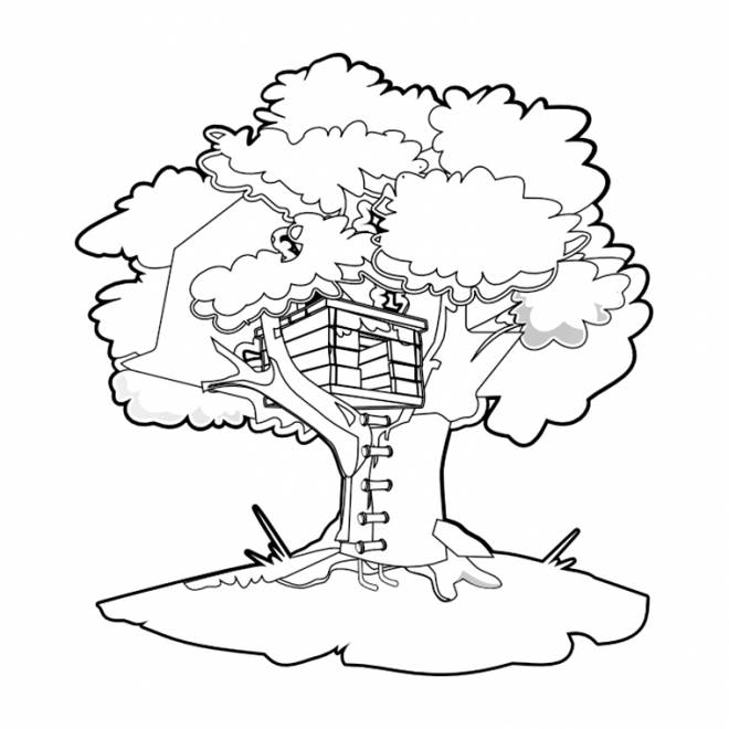 Free coloring and drawings Tree House Coloring page