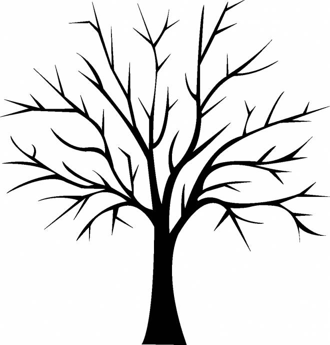 Free coloring and drawings Tree in black Coloring page