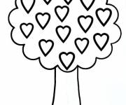 Coloring pages Tree in heart