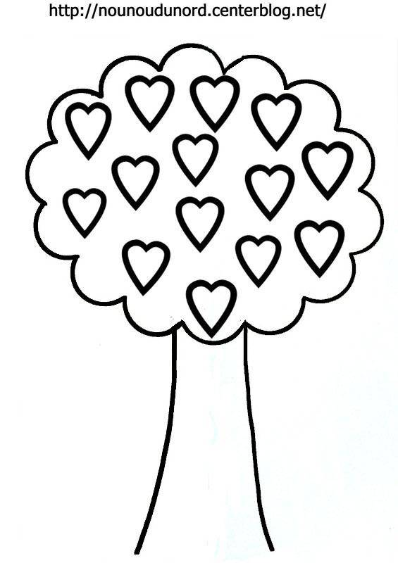 Free coloring and drawings Tree in heart Coloring page