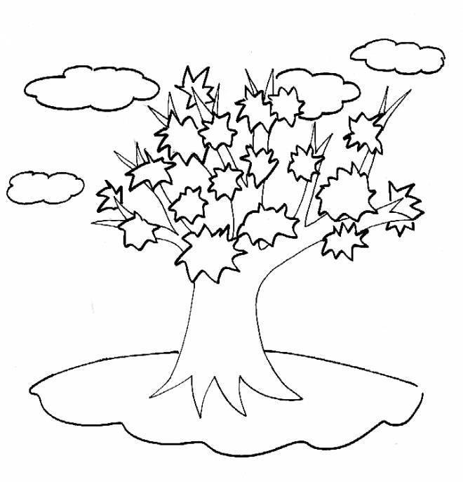 Free coloring and drawings Tree in the clouds Coloring page