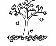 Coloring pages Tree leaves in Autumn