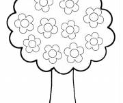 Free coloring and drawings Tree with Flowers Coloring page