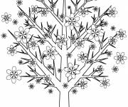 Coloring pages Trees decorated by flowers