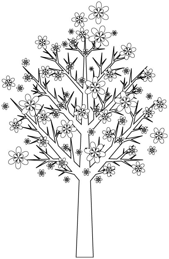 Free coloring and drawings Trees decorated by flowers Coloring page
