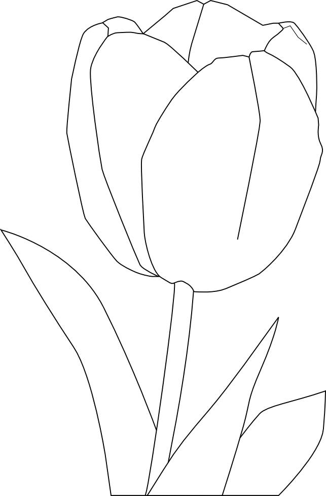 Free coloring and drawings A large stylized tulip Coloring page