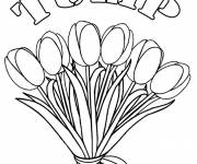 Coloring pages Bouquet of Tulip Flowers