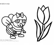 Coloring pages The bee and the Tulip