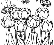 Coloring pages The Bees fly over The Tulips