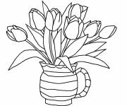 Coloring pages Tulip Bouquet at Home