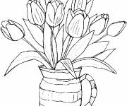 Coloring pages Tulip Flower Vase