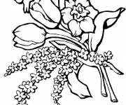 Coloring pages Tulips and Roses