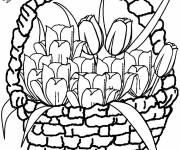 Coloring pages Tulips in greeting card