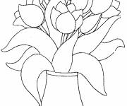 Coloring pages Tulips In The Vase