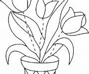 Coloring pages Tulips to assemble