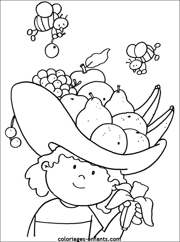 Free coloring and drawings Fruit and Bees Coloring page